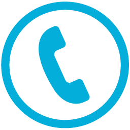 Phone handset in circle blue