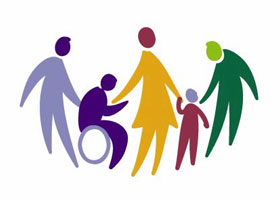 Multicolored silhouette of people 3 adults standing by two children one in a wheelchair.