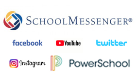 Social Media Logos - School Messenger, Facebook, Youtube, Twitter, Instagram, PowerSchool